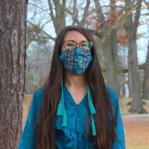 Upcycled Sari Floral Bohemian Tassel Face Mask